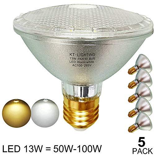 (PAR30 LED Bulb Flood Light,Glass Body,Short Neck,Warm White/Soft White 2700K-3000K,Waterproof,Indoor/Outdoor,E26 Base,120-Volt,LED PAR30 Bulb 13W(=50W/60W/75W/90W/100W Halogen Replacement)45-Degree)