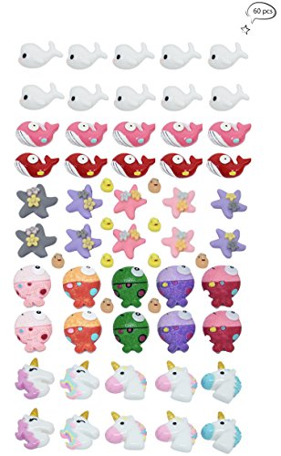 60 PCS Slime Charms, Fineder Unicorn Dolphin Duck Clownfish Starfish Whale Slime Charms Resin Flatback of Slime Beads for Ornament Scrapbooking DIY Crafts (Scrapbooking Ornament)