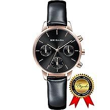 BRIGADA Swiss Watches for Women, Fashion Quartz Waterproof Ladies Watches for Girls Women (black)
