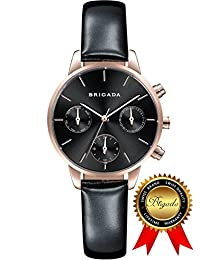 BRIGADA Swiss Watches for Women, Fashion Quartz Waterproof Ladies Watches for Girls Women (black)
