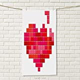 smallbeefly Valentines Day Sports Towel Video Game Tetris Red Heart Vintage Pixelated Design Joyful Romantic Absorbent Towel Red Pink Scarlet Size: W 35.5'' x L 16''