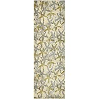 AB 22 x 67 Yellow Grey Seashell Pattern Runner Rug Rectangle, Indoor Gray Beige Beach Theme Hallway Carpet Geometric Sea Shell Star Fish Patterned Floor Cover Coastal Nautical, Polypropylene