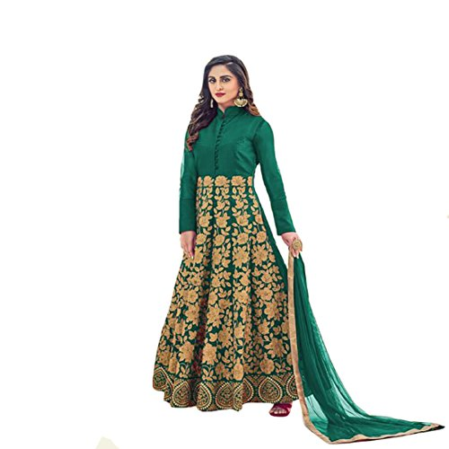 Wedding Wear Collection Bridal Long Anarkali Suit Ceremony Muslim Heavy Dress By Ethnic Emporium 709 (Green)