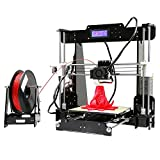 Anet A8 3D Printer Kits Desktop Acrylic LCD Screen Printing SD Card High Speed Precision Works with PLA ABS Filaments for DIY Self Assembly