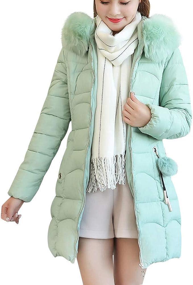 Lavany Womens Down Coat Long Thick Faux Fur Hooded Parka Slim Warm Jacket Coat