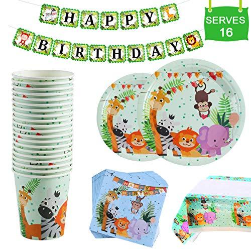 Safari Animal Birthday Party Supplies - Serves 16 - Plates, Napkins, Cups Tableware Kit, One Animal Print Tablecloth, Birthday Banner for Birthday Parties, Jungle Theme Party Supplies by QIFU (Birthday Party Theme Supplies)