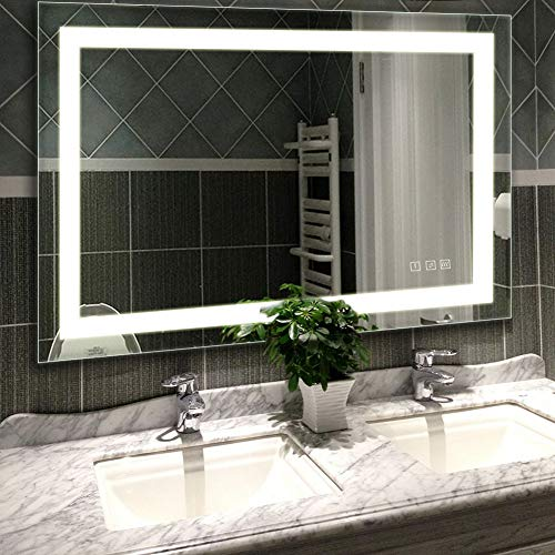 LED Lighted Vanity Bathroom Mirror, Wall Mounted + Anti Fog & Dimmer -