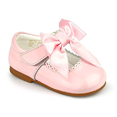 f4aa0767c0c Baby Girls Spanish Style Designer Patent Bow Shoes Mary Jane Genuine  Leather Upper Shoes UK2 UK12