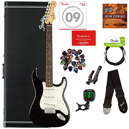 Stratocaster Black Case - Fender Player Stratocaster, Pau Ferro - Black Bundle with Hard Case, Cable, Tuner, Strap, Strings, Picks, Capo, Fender Play Online Lessons, and Austin Bazaar Instructional DVD