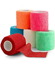 "6 Pack, Self Adherent Cohesive Tape - 2"" x 5 Yards, Self Adhesive Bandage Rolls & Sports Athletic Wrap for Ankle, Wrist, Knee Sprains and Swelling, Vet Wraps in Assorted Neon Colors - FDA Approved"