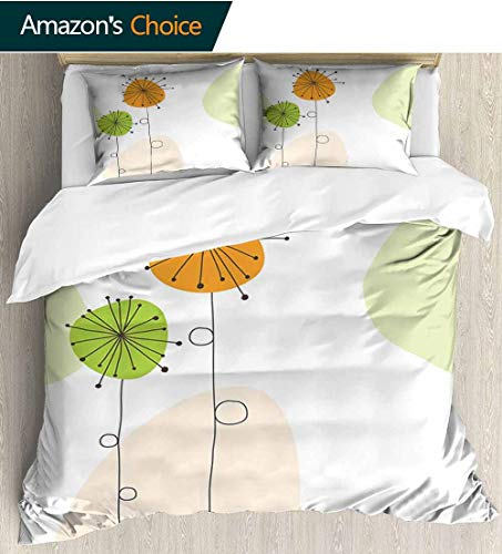 - Dandelion 3 PCS King Size Comforter Set,Abstract Flower Celebration Theme Baby Shower Inspired Arrangement Decorative 3 Piece Bedding Set with 2 Pillow Sham 90