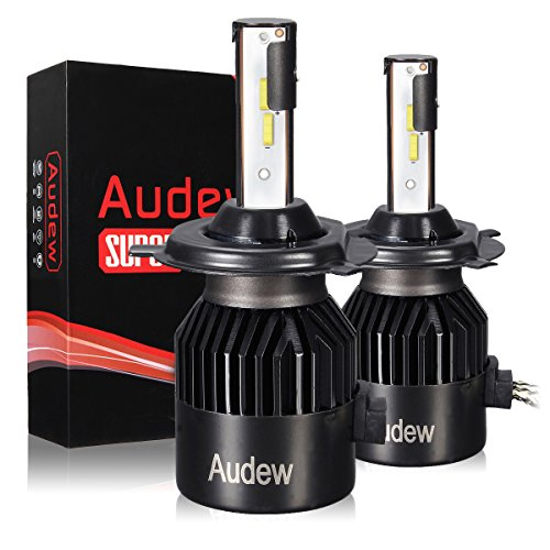 H4 LED Headlight Bulb 2Pcs AUDEW 72W 8000Lumens 6000K Cool White with COB Chips Super Bright All-in-One Conversion kit -2 Year (Twist Connect Kit)