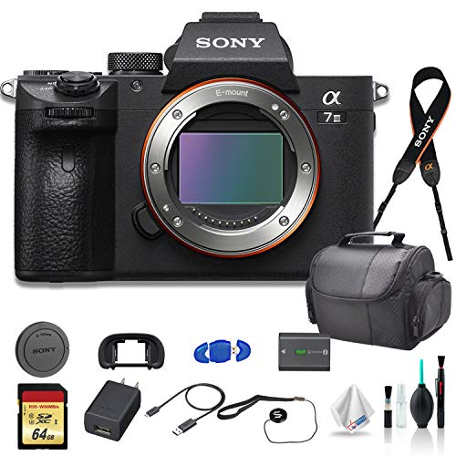 Sony Alpha a7 III Full-Frame Mirrorless Digital Camera (Body Only) Bundle - with Bag, 64GB Memory Card, Memory Card Reader and More.