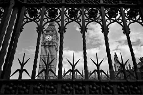 What Lies Beyond Big Ben Through Iron Gate London Black and White Photo Mural Giant Poster 54x36 ()