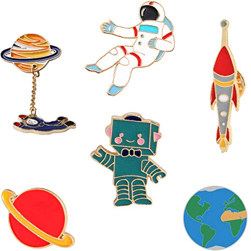 KimYoung Lemoo Cute Enamel Lapel Pin Sets Carton Animal Brooch Pin (Planet Spaceman and Robot Set of 6)