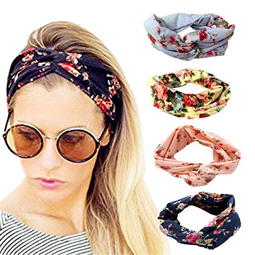 DRESHOW 4 Pack Cloth Headbands for Women Workout Cute Knotted Criss Cross Hairbands Vintage Printed Stretchy Hair Accessories -