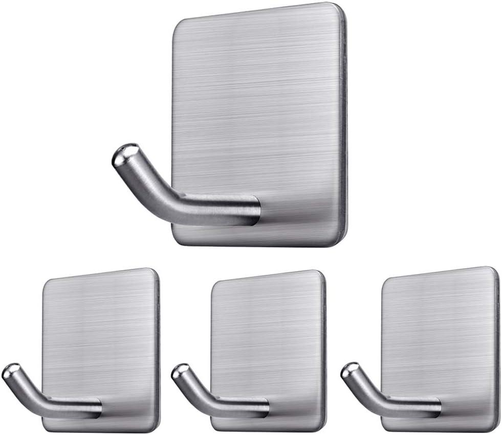 Bathroom Stainless Steel Hook Clothes Hanger Adhesive Hooks Wall Door Holder