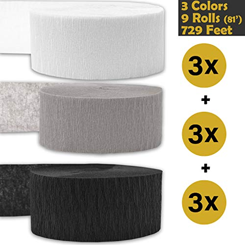 - Crepe Party Streamers, 9 rolls, 3 Colors, 739 ft - White + Gray + Black - 243' per color (3 rolls per color, 81 foot each roll) - For party Decorations and Crafts - Flame Resistant, Bleed Resistant, Made in USA