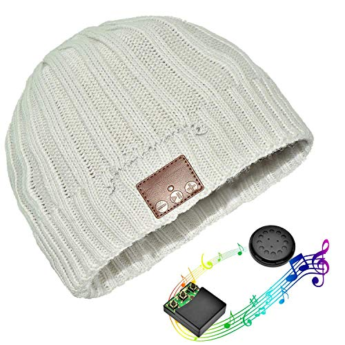 White Free Headset Hands (Wireless Bluetooth Headphone Beanie,Combined with Removable Bluetooth Headset; Hands Free Talking; Mix Color Knit with Cuff Design for Outdoor Sport Skiing Snowboard Skating Hiking Camping)