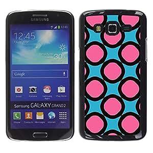 FECELL CITY // Duro Aluminio Pegatina PC Caso decorativo Funda Carcasa de Protección para Samsung Galaxy Grand 2 SM-G7102 SM-G7105 // Pink Pattern Rings Girly