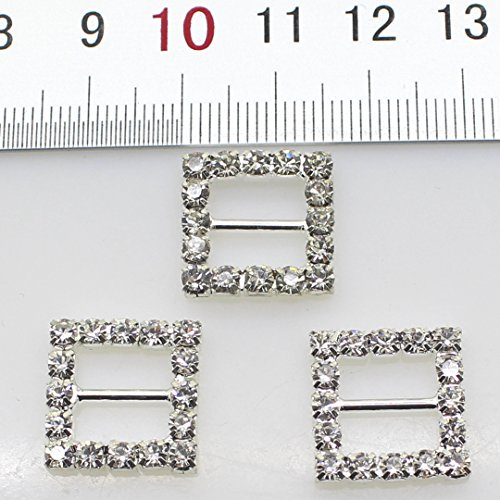 50pcs 15mm Silver Square Shaped Rhinestone Buckle Slider for Wedding Invitation Letter Christmas Buckles