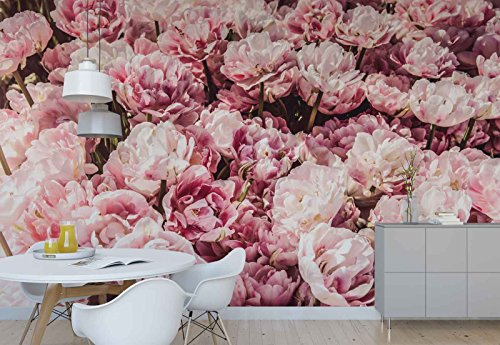 (Photo wallpaper wall mural - Pink Flowers Bouquet - Theme Flowers - XXL - 13ft 8in x 9ft 6in (WxH) - 4 Pieces - Printed on 130gsm Non-Woven Paper - FW-1041VEXXXXL)