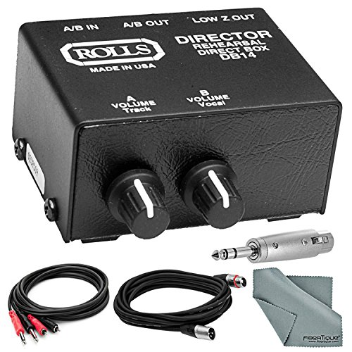 Rolls DB14B A/V Presenter Stereo Direct Box/Signal Separator w/ Individual Attenuator Controls, RCA I/O's & XLR Balanced Output and Accessory Bundle Preamp Direct Box