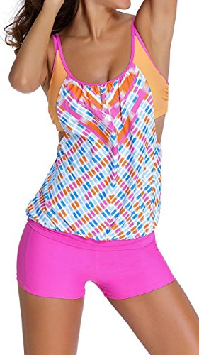 Anmengte Women Stripes Tankini Lined up Bathing Suit Double Up Swimwear Sets (L, Pink)