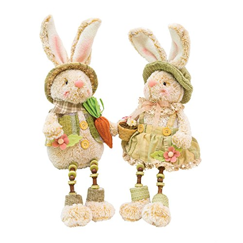 C&F Home Spring Easter Bunny Rabbit Couple Tabletop Figures Figurines Shelf Sitter Decor Decoration A/2 Green ()