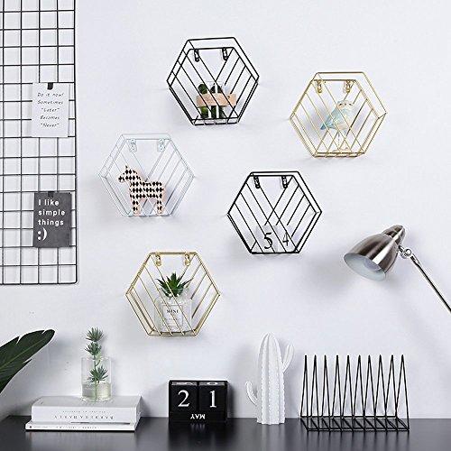 AceList Wall Hexagon Magazine Rack Floating Shelf Living