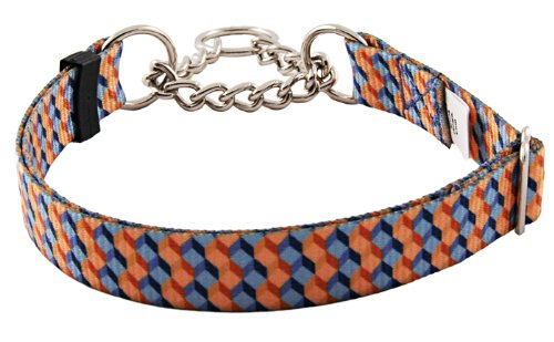 Country Brook Design Blue and Tangerine Cubes Half Check Dog Collar - Medium
