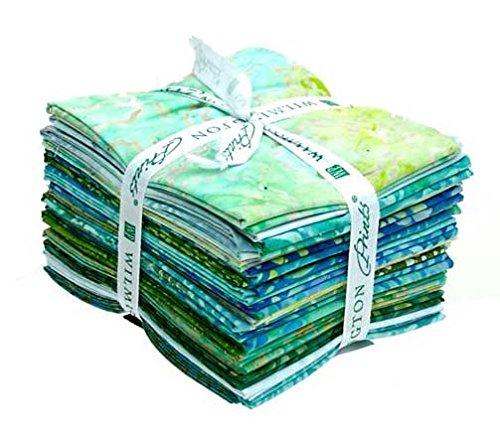Ocean View Batik, 20pc Fat Quarter Bundle (18''x21'') Wilmington Batiks Cotton Fabric by Wilmington Prints