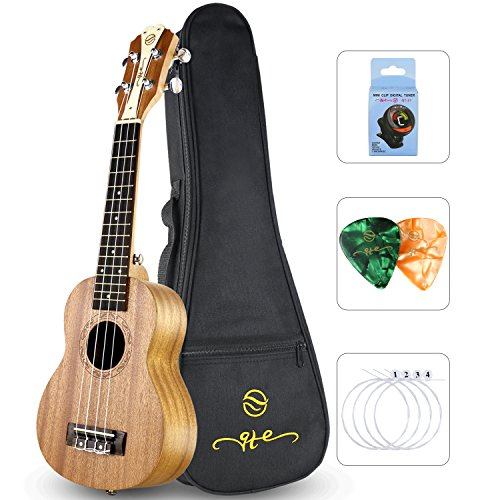 Qte Soprano New Design Ukulele Musical Instruments Mahogany 21 inch natural with Bag Digital Tuner Nylon String Picks (Instruments String Musical)