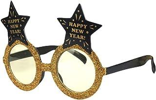 BESTOYARD Happy New Year Occhiali da Vista Capodanno Occhiali da Vista Glitter Occhiali Divertenti con Stelle Celebrazione Festa di Compleanno per 2019 Festa di Capodanno Decori (Golden)
