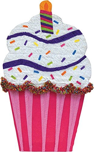 YA OTTA PINATA - Cupcake Giant Pinata - White/Pink (Pull String Pinata Cupcake)