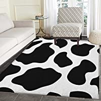 Cow Print Area Rug Carpet Hide of a Cow with Black Spots Abstract and Plain Style Barnyard Life Print Living Dining Room Bedroom Hallway Office Carpet 3x4 Black White