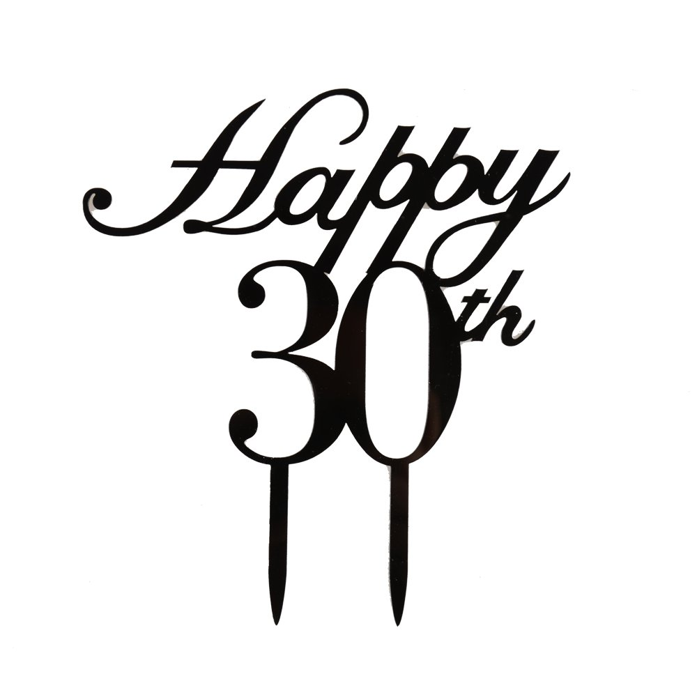 Happy 30th Cake Topper, 30th Birthday/Wedding Anniversary Party Decorations-Black Color