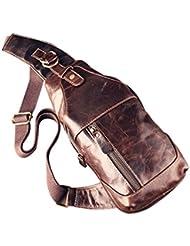 ZE Mens Vintage Genuine Leather Chest Bag Shoulder Sling Unbalance Backpack Cross Body for Outdoor Use
