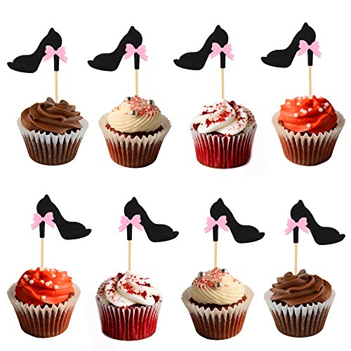 Price comparison product image HZOnline Glitter Cupcake Toppers Black High-heeled Shoes with Bow-knot Cake Fruit Picks Decorative for Single Party Wedding Birthday Parties Supplies Decoration (20PCS)