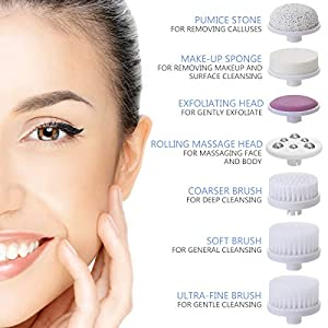 Facial Cleansing Brush [Newest 2019], PIXNOR Waterproof Face Spin Brush with 7 Brush Heads for Deep Cleansing, Gentle Exfoliating, Removing Blackhead, Massaging(Blue)