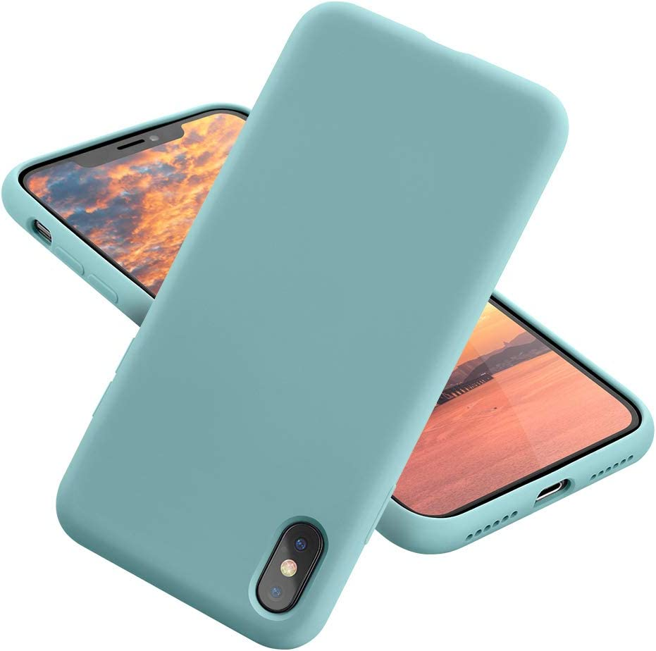 MCUCA iPhone X Case/iPhone Xs case Liquid Silicone Gel Rubber Bumper Case,Ultra-Thin Soft Microfiber Lined Full Body Protective Case Cover for Apple iPhone X/iPhone Xs (Light Green)