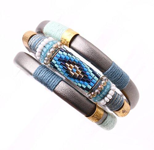 Badu Seed Beaded leather bracelet multi-turn 0401 (Light Blue)