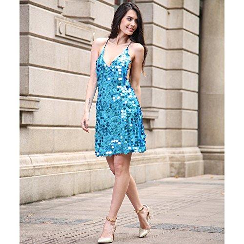 lentejuelas de de noche mujer Blue vestido vestido la fiesta FOLOBE de UOwdqFF