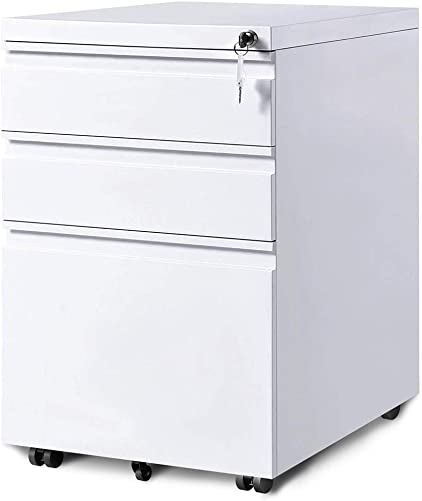 3-Drawer Mobile File Cabinet with Lock Under Desk Office Drawers Fully Assembled Except Casters White
