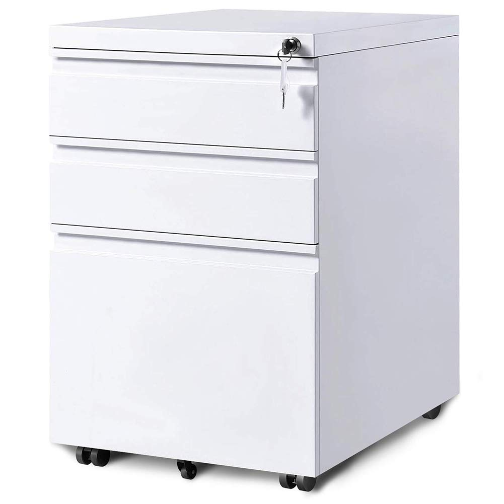 3-Drawer Mobile File Cabinets Rolling Metal Filing Cabinet for Legal & Letter File Anti-tilt Design with Lock Under Desk Office Drawers Fully Assembled Except Casters(White) by GOOGIC