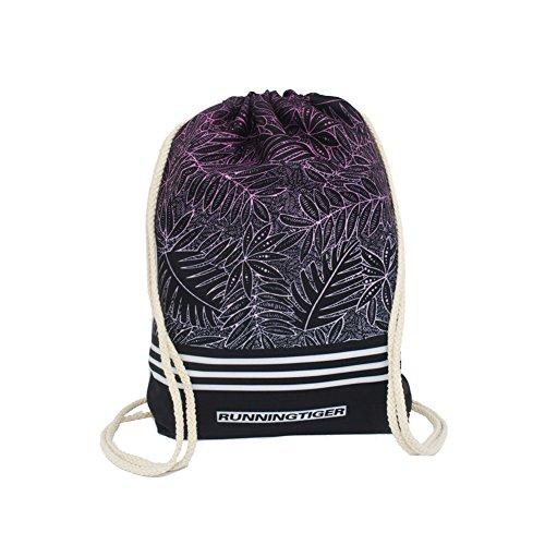 artone-leaves-polyester-drawstring-bag-travel-daypack-sports-portable-backpack-black