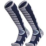 WEIERYA Ski Socks 2 Pairs Pack for Skiing, Snowboarding, Cold Weather, Winter Performance Socks (Blue 2 Pairs, Large)