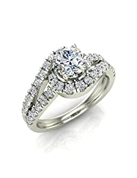 Ocean Wave Intertwined Diamond Engagement Ring for women 14K Gold 1.20 ct (J,I1)
