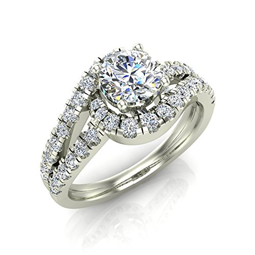 Ocean Wave Intertwined Diamond Engagement Ring for women 14K White Gold 1.32 Carat Total 3/4 ct Center Round Brilliant Cut (Ring Size 5.5) by Glitz Design (Image #5)