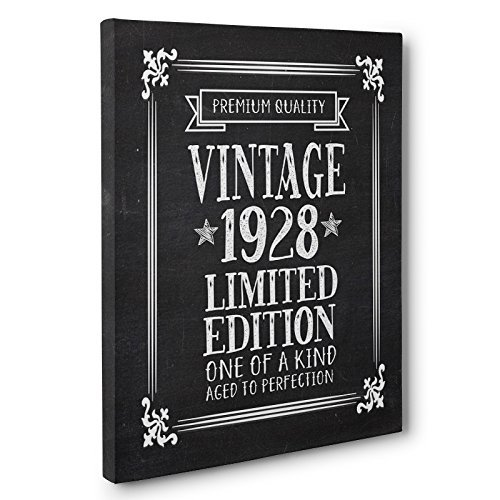 Aged To Perfection 90 Years Old Vintage 1928 Canvas Wall Art by Paper Blast